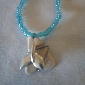 Handcrafted Seed Bead Necklace with Whale Tail Cha